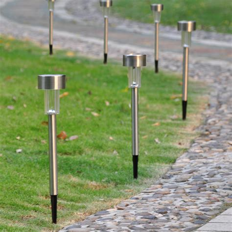 stainless steel solar path lights 12pcs garden outdoor stainless steel led solar landscape