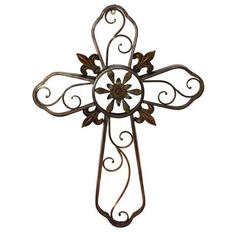 cross wall decor hanging wall cross fleur de lis metal wall decor sculpture