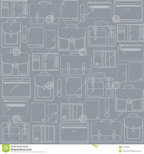 leather goods pattern seamless pattern with leather goods on the gray ba stock
