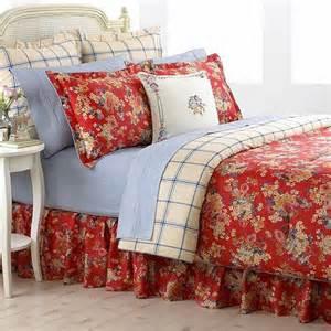 Bright Blue Comforter Ralph Lauren Madeline Queen Comforter Red Floral New Ebay