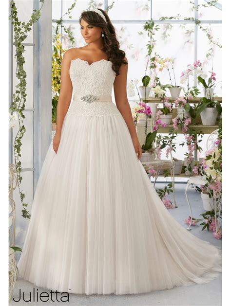 Wedding Dresses Size 26 by Mori 3193 Soft Tulle Skirt Plus Size Bridal Gown Ivory