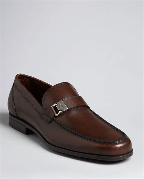 ferragamo loafers ferragamo tazio side ornament loafer brown in brown for