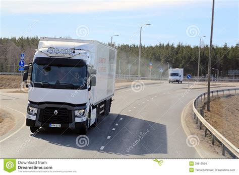 new volvo truck range test driving a white renault range t long haulage truck