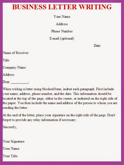 Business Letter Writing Format Business Letter