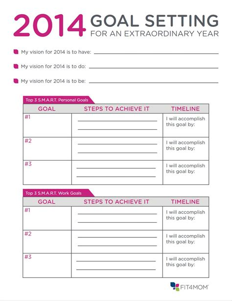 goal setting for employees template goal template 2016 calendar template 2016