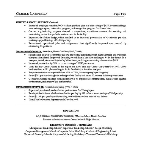Resume Cover Letter Exles Operations Manager Doc 600720 Resume Sle 5 Operations Manager Resume