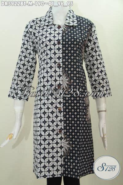 Dress Charlote Hitam Bahan Twistcone Kombi Katun Batik Asli Sleti jual dress batik elegan motif klasik nan mewah baju batik hitam putih cocok buat acara formal