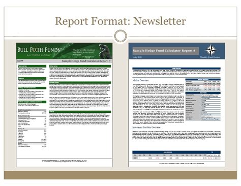 Hedge Fund Reporting Template Hedge Fund Tearsheets Created By The Hedge Fund Calculator