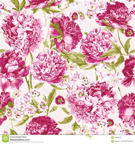 peoni pattern font free seamless pattern with pink peonies vector stock vector