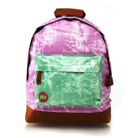 mi pac backpack tie dye contrast purple green