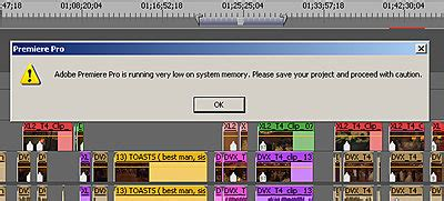 adobe premiere pro startup error error adobe premiere pro is running low on system memory