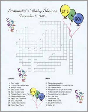 Baby Shower Crossword by Personalized Custom Baby Shower Announcement