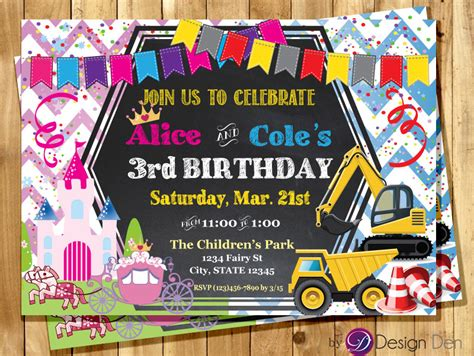 printable joint birthday party invitations princess and construction joint birthday party invitation