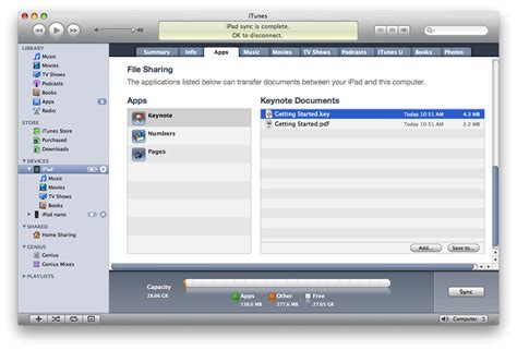devices section in itunes ios about file sharing apple support