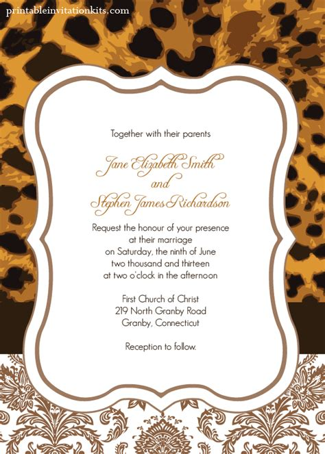 animal print template leopard print wedding invitation wedding invitation