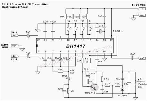 integrated circuit fm transmitter gt circuits gt fm stereo transmitter circuit diagram using bh1417 l43948 next gr