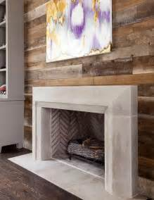 concrete fireplace mantel teal and gold leaves wall