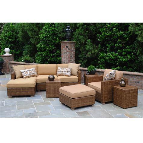 Patio Furniture Usa Woodard Sedona Wicker Sectional Patio Set Wc Sedona Set1