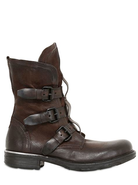 a s 98 3 buckles washed leather boot in brown lyst