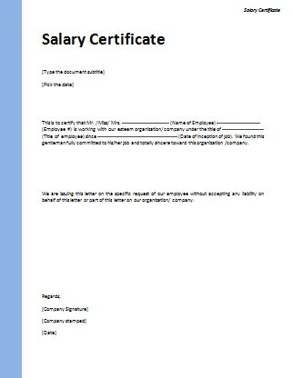Certification Letter Models Salary Certificate Template Microsoft Word Templates