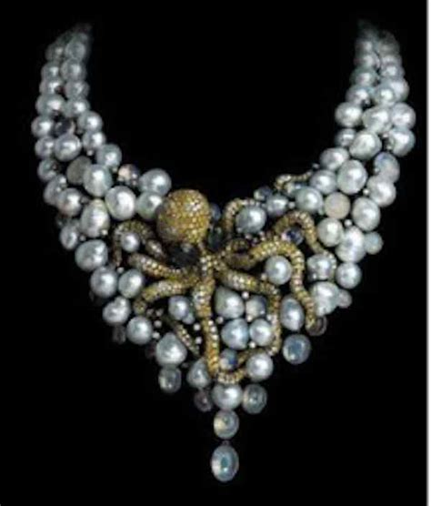 a gemstone gold with pearls necklace by the late jean