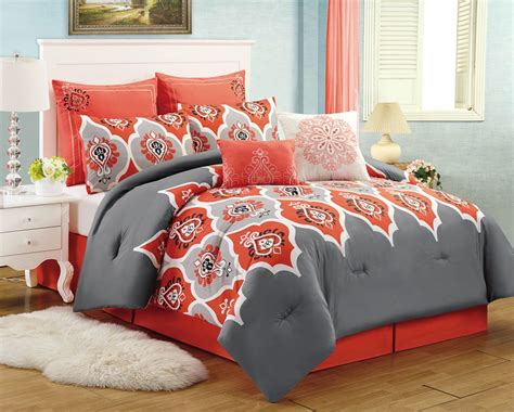 red and gray comforter sets 8 pc medallion red grey queen comforter set boho gray