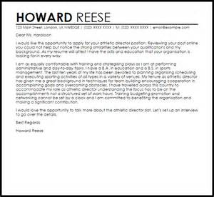 athletic director cover letter sample livecareer