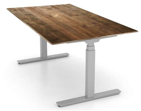 Reclaimed Wood Sit Stand Desk by Reclaimed Scaffold Ship Sit Stand Desk Bottoms Up