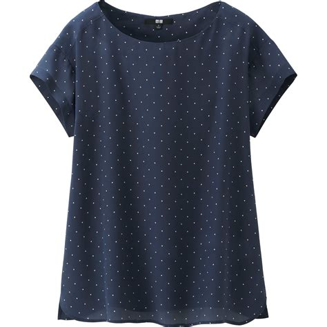Blouse Navy uniqlo silk sleeve t blouse in blue navy lyst