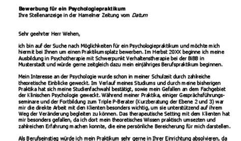 Praktikum Bewerbung Nach Studium Bewerbung Psychologie Praktikum Nach Dem Studium Berufseinsteiger Vorlagen De