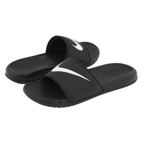 nike sandals white nike benassi swoosh mens black white slip on sandal slides