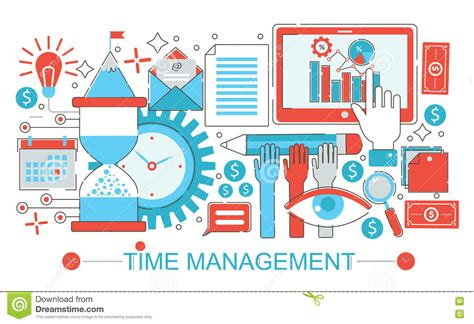 layout time modern flat thin line design time management concept for