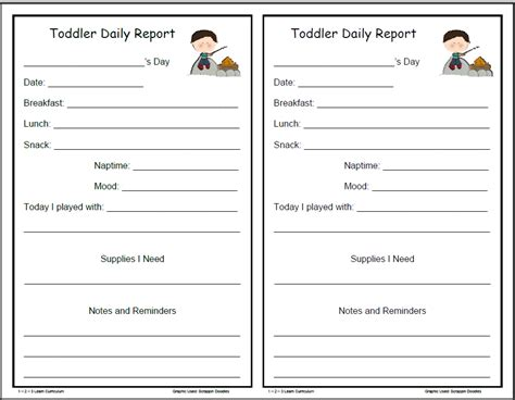 toddler daily report template 1 2 3 learn curriculum may 2011