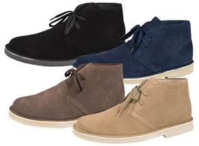 mens boys suede leather lace up desert boots ankle