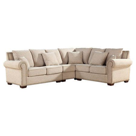 italian linen sectional sofa with nailhead trim and kiln