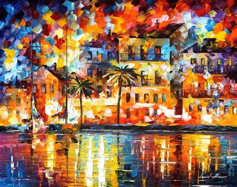 love boat in spanish the shores of spain palette knife oil painting on canvas