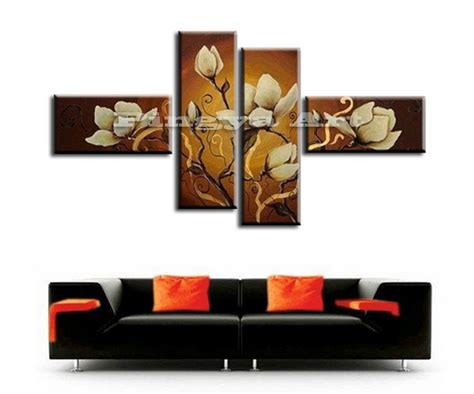 Wall Deco 4 4 panel modern abstract canvas wall deco painted white flower brown painting