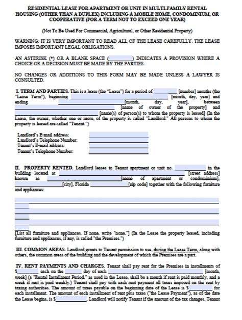 florida rental lease agreement templates free florida month to month lease agreement pdf word