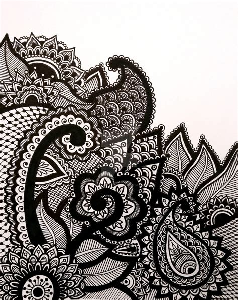 Drawing Zentangle by Henna Zentangle Abstract Line Drawing Print By