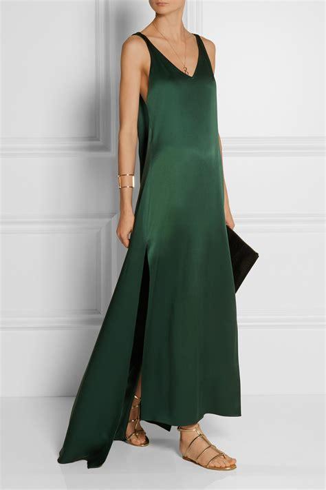 chagne silk gowns lyst rosetta getty silk dress in green