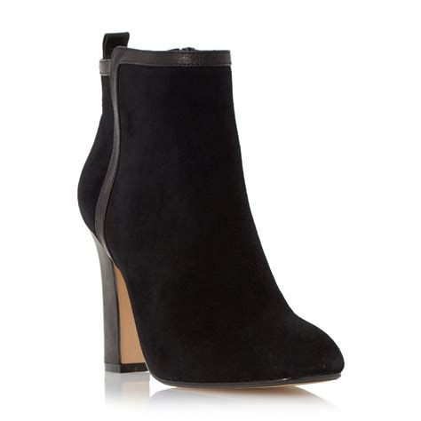 high heel leather boot dune oke high heel leather trim ankle boots in black