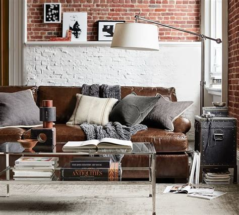 pillow arm leather sofa townsend roll arm leather sofa farmhouse living room
