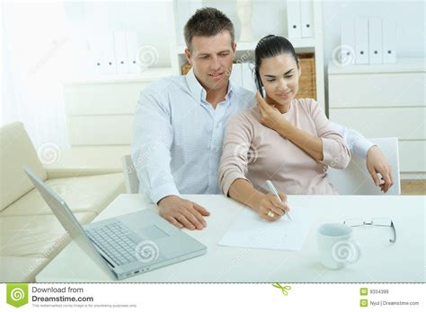 happy businessman on phone calling family stock