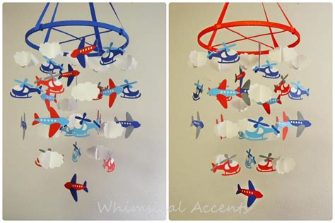 Baby Inspired By Faraway Lands airplanes helicopters and clouds nursery baby mobile