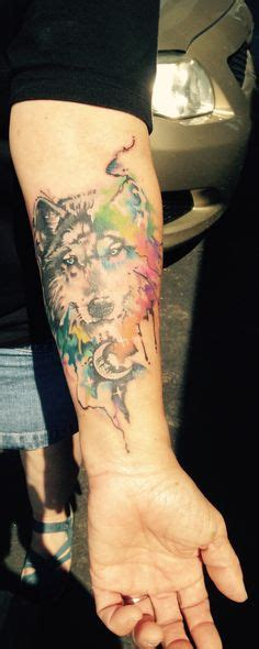 watercolor tattoo in singapore wolf galaxy water color tattoo color tattoo done by me