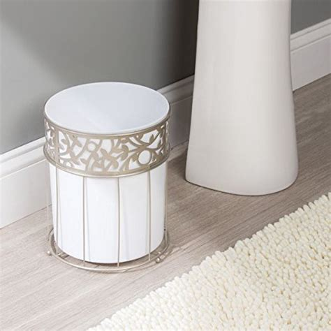 decorative bathroom trash cans mdesign decorative wastebasket trash can for bathroom