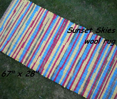 material for rag rugs handwoven sunset skies thick wool fabric rag rug 67