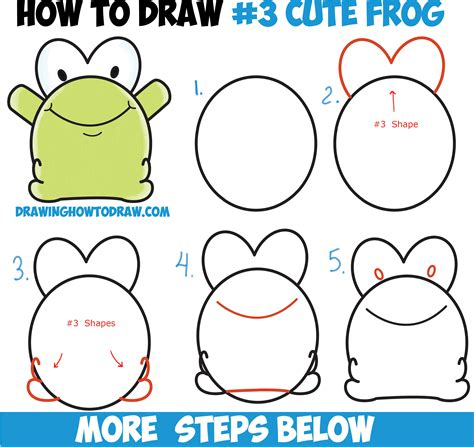 Easy Kid Drawings Step By Step how to draw baby frog from number 3 shape