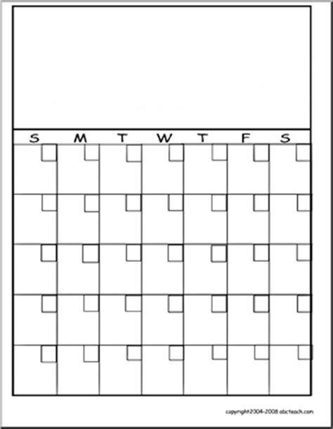 blank calendar template with picture space calendar template ideas for kindergarten pinterest