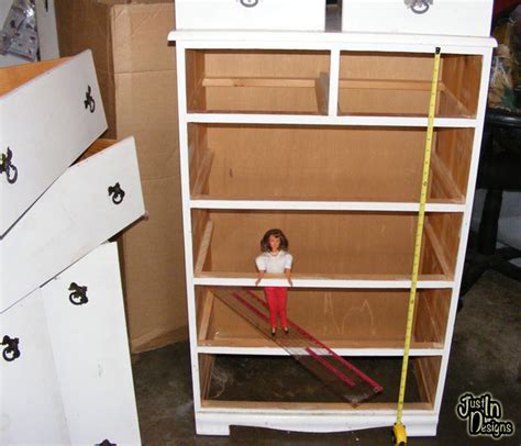 doll house builder building a barbie doll house with a recycled dresser from just in